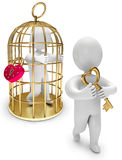 Man in a golden cage. Person holds the golden key, on a white background, 3d render Stock Images