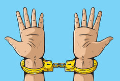 Man in Golden Handcuffs Stock Photos