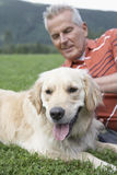 Man With Golden Retriever On Grass Stock Photography