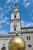 Man on Golden Sphere in Salzburg Stock Photography
