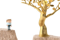 A man and a golden tree on both sides of the cliff.3D illustrati Royalty Free Stock Image
