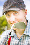 Man With Golf Club Royalty Free Stock Image