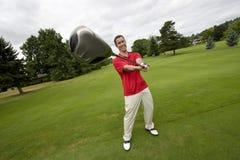 Man with Golf Club - Horizontal Stock Photography