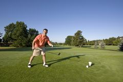 Man on Golf Course Stock Images