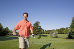 Man on Golf Course - Horizontally Royalty Free Stock Photography