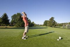 Man on Golf Course - Horizontally royalty free stock image