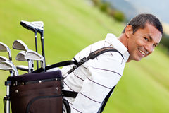 Man with a golf sack Stock Image