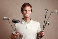 Man with golf set Royalty Free Stock Photo
