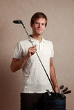Man with golf set Royalty Free Stock Images