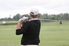 Man golf swing. At national Stock Photo