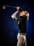 Man  golfer golfing isolated Stock Photo