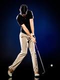 Man  golfer golfing isolated Stock Image