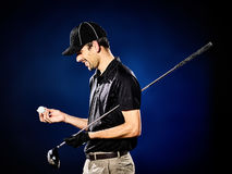 Man  golfer golfing isolated Royalty Free Stock Images