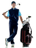 Man golfer golfing isolated withe background Stock Photos