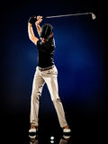 Man golfer golfing. One caucasian man golfer golfing stock photos