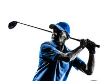 Man golfer golfing portrait silhouette. One man golfer golfing in silhouette studio isolated on white background Royalty Free Stock Photo