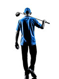 Man golfer golfing silhouette. One man golfer golfing in silhouette studio isolated on white background stock photography