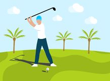 Man golfer putting on golf course and around grow palms. Human playing in golf on outdoors, vector design. Active kind of sport on nature and green grass vector illustration