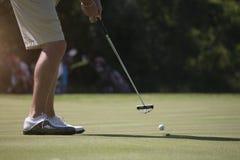 Man golfer putting on green Royalty Free Stock Image