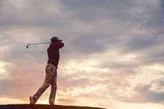 Man golfer silhouette Royalty Free Stock Photography