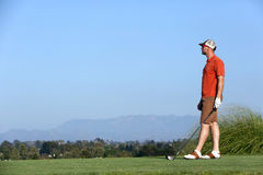 Man golfing. Man standing on a golf course Royalty Free Stock Images