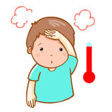 Man got fever high temperature cartoon  Royalty Free Stock Photo