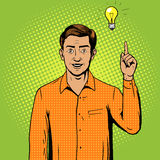 Man got a great idea pop art style vector Stock Photo