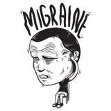 Man got sick migraine cartoon character vector Concept Royalty Free Stock Image