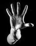 Man grabb, hipster och att göra stopptecknet som visar den mest gest rejective handen royaltyfria bilder