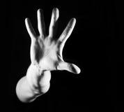 Man grabb, hipster och att göra stopptecknet som visar den mest gest rejective handen royaltyfri fotografi