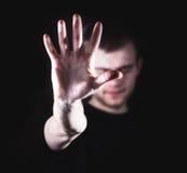 Man grabb, hipster och att göra stopptecknet som visar den mest gest rejective handen royaltyfria foton