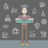 Man with graduation cap and book Royalty Free Stock Photography