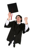 Man in graduation robes Stock Photo