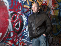 Man graffiti urban attitude Stock Photography