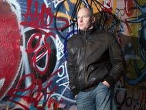 Man graffiti urban attitude stock photography