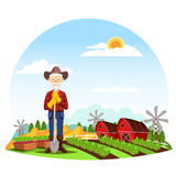 Man or grandfather farmer at farm Royalty Free Stock Images