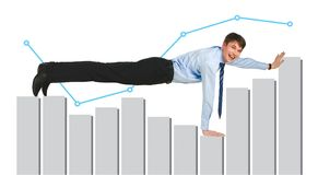 Man on graph Royalty Free Stock Photography
