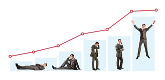 Man and graph. Creative photo of businessman in different moods under graph Royalty Free Stock Images