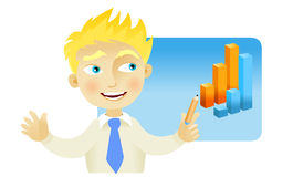 Man with a graph bar. Man making a presentation with a bar graph Stock Photography