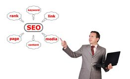 Man and graph seo Royalty Free Stock Images