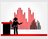 Man with graphic. Behind tribune Stock Images