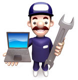 The Man Grasp the laptop and spanner Stock Photography