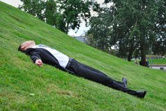 The man on a grass Royalty Free Stock Images