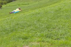 Man on the grass Stock Photography
