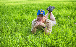 Man in grass Royalty Free Stock Images