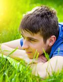 Man on the Grass royalty free stock photography