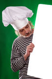 The man with gray beard in a sailor suit and hat chef the billboard isolated Stock Photo