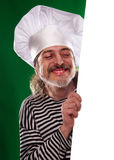 The man with gray beard in a sailor suit and hat chef the billboard  Stock Images