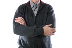 Man in gray jacket and striped shirt Royalty Free Stock Images