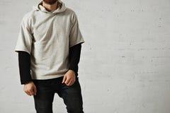 Man in a gray sweatshirt Stock Photos